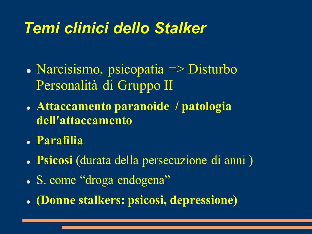 Temi clinici dello Stalker Narcisismo, psicopatia => Disturbo Personalità di Gruppo II Attaccamento paranoide / patologia dell'attaccamento Parafilia