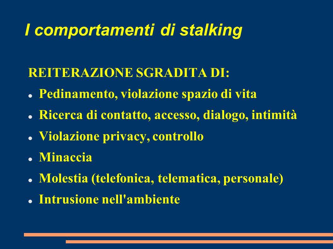 I comportamenti di stalking REITERAZIONE SGRADITA DI: Pedinamento, violazione spazio di vita Ricerca di contatto, accesso, dialogo, intimità Violazion
