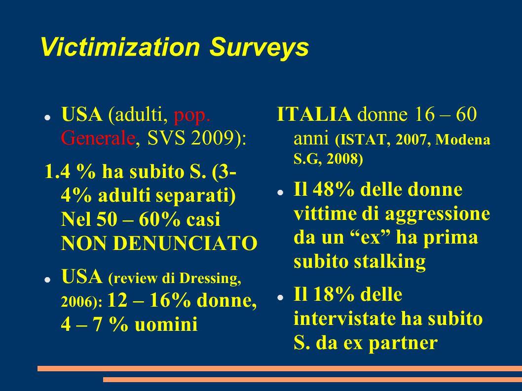 Victimization Surveys USA (adulti, pop. Generale, SVS 2009): 1.4 % ha subito S. (3- 4% adulti separati) Nel 50 – 60% casi NON DENUNCIATO USA (review d