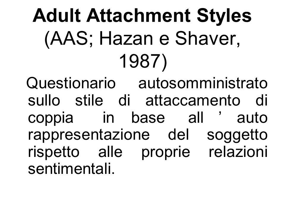 Adult Attachment Styles (AAS; Hazan e Shaver, 1987) Questionario autosomministrato sullo stile di attaccamento di coppia in base all'auto rappresentaz