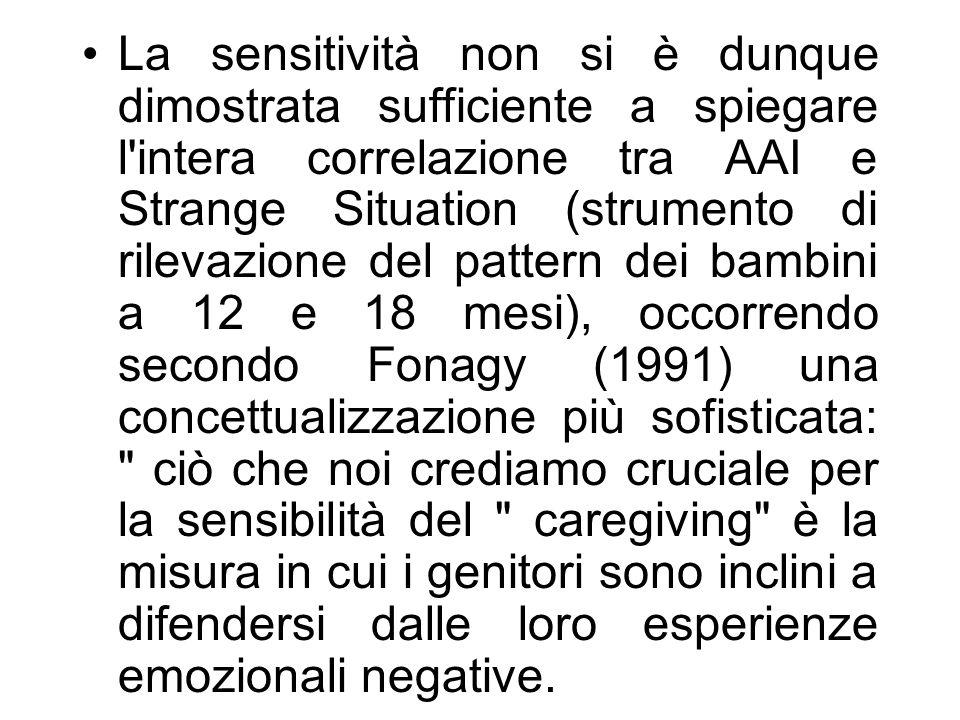 La sensitività non si è dunque dimostrata sufficiente a spiegare l'intera correlazione tra AAI e Strange Situation (strumento di rilevazione del patte
