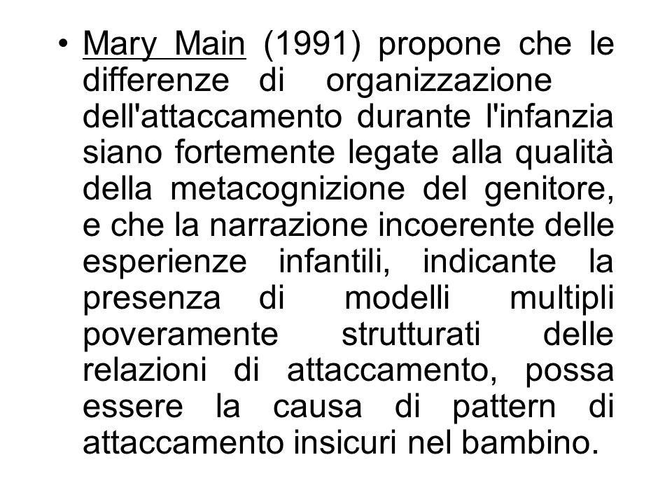 Mary Main (1991) propone che le differenze di organizzazione dell'attaccamento durante l'infanzia siano fortemente legate alla qualità della metacogni