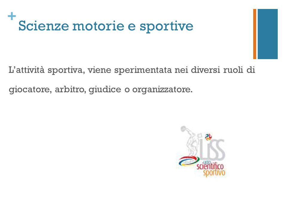 + Scienze motorie e sportive L'attività sportiva, viene sperimentata nei diversi ruoli di giocatore, arbitro, giudice o organizzatore.
