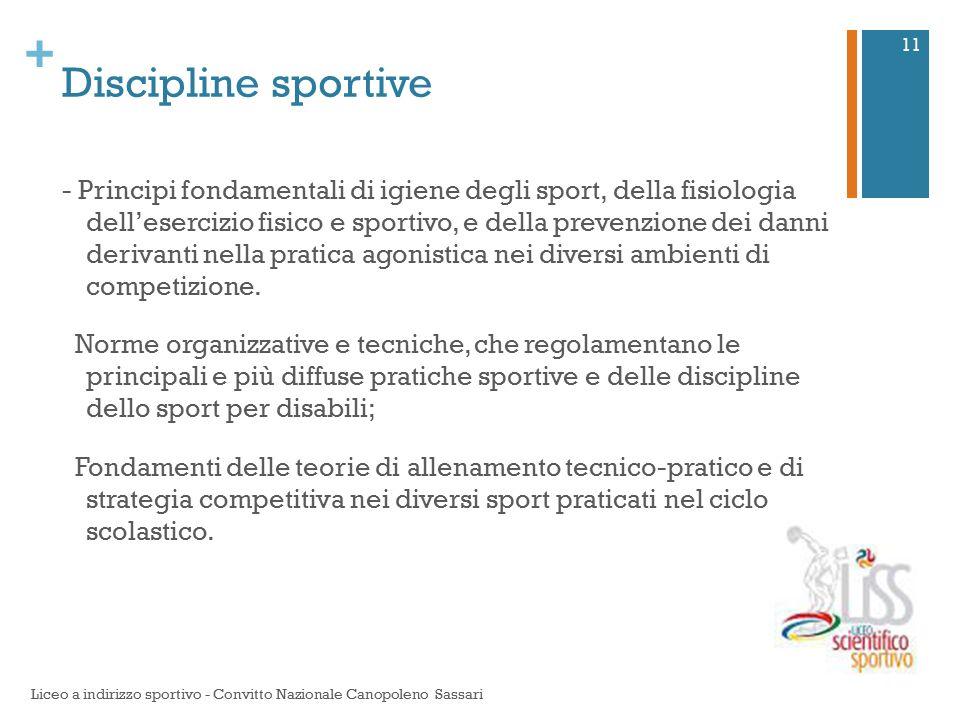 + Discipline sportive - Principi fondamentali di igiene degli sport, della fisiologia dell'esercizio fisico e sportivo, e della prevenzione dei danni