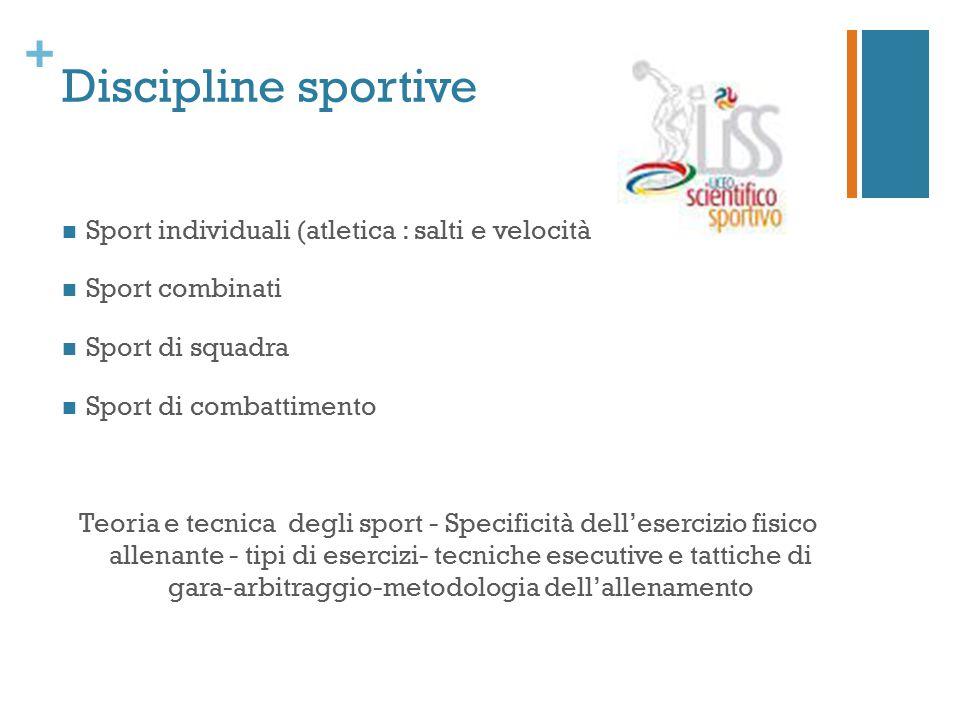 + Discipline sportive Sport individuali (atletica : salti e velocità Sport combinati Sport di squadra Sport di combattimento Teoria e tecnica degli sp