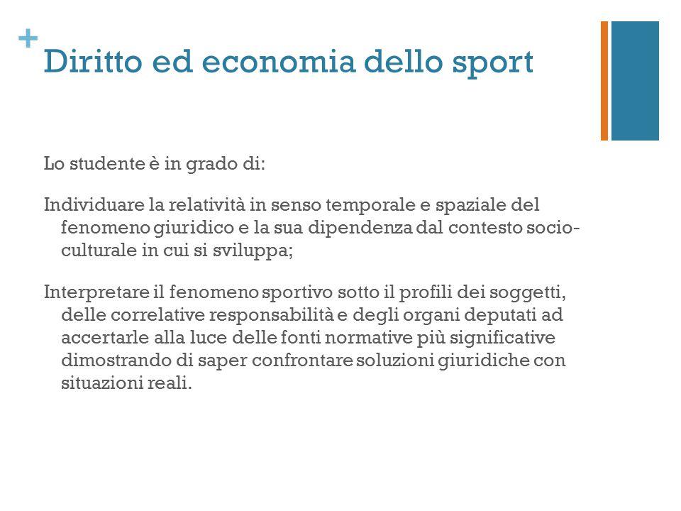 + Diritto ed economia dello sport Lo studente è in grado di: Individuare la relatività in senso temporale e spaziale del fenomeno giuridico e la sua d