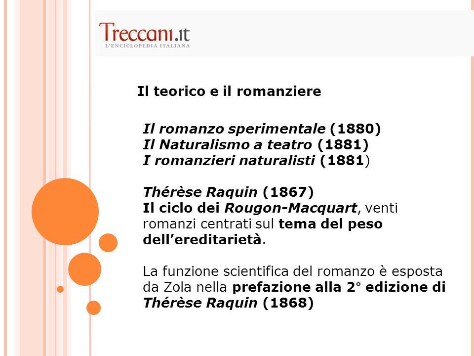 Il romanzo sperimentale (1880) Il Naturalismo a teatro (1881) I romanzieri naturalisti (1881) Thérèse Raquin (1867) Il ciclo dei Rougon-Macquart, venti romanzi centrati sul tema del peso dell'ereditarietà.
