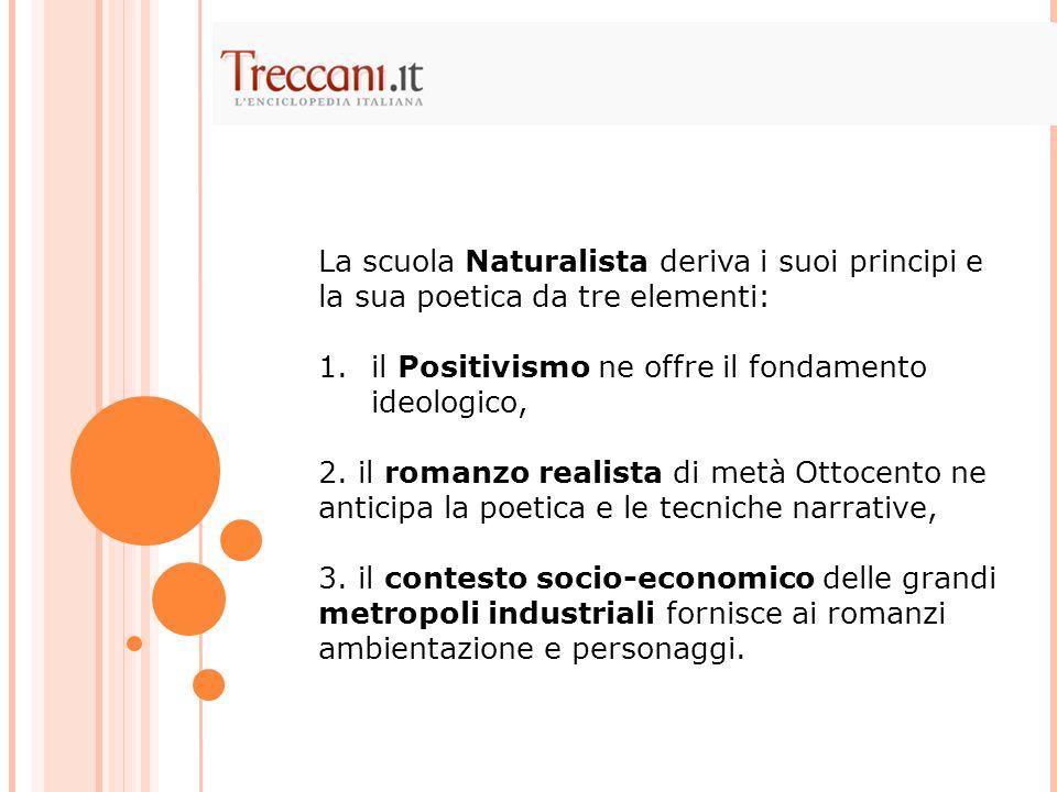 La scuola Naturalista deriva i suoi principi e la sua poetica da tre elementi: 1.il Positivismo ne offre il fondamento ideologico, 2.