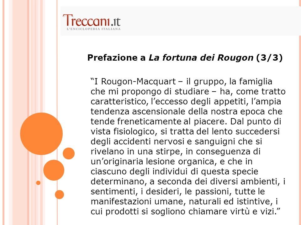 I Rougon-Macquart – il gruppo, la famiglia che mi propongo di studiare – ha, come tratto caratteristico, l'eccesso degli appetiti, l'ampia tendenza ascensionale della nostra epoca che tende freneticamente al piacere.