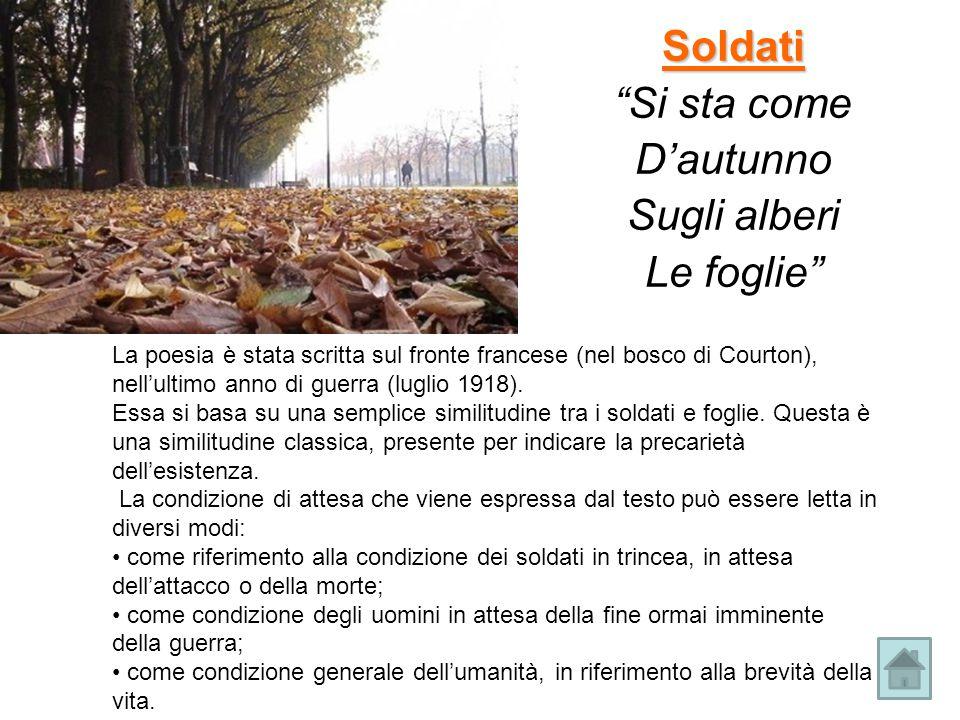 Soldati Si sta come D'autunno Sugli alberi Le foglie La poesia è stata scritta sul fronte francese (nel bosco di Courton), nell'ultimo anno di guerra (luglio 1918).