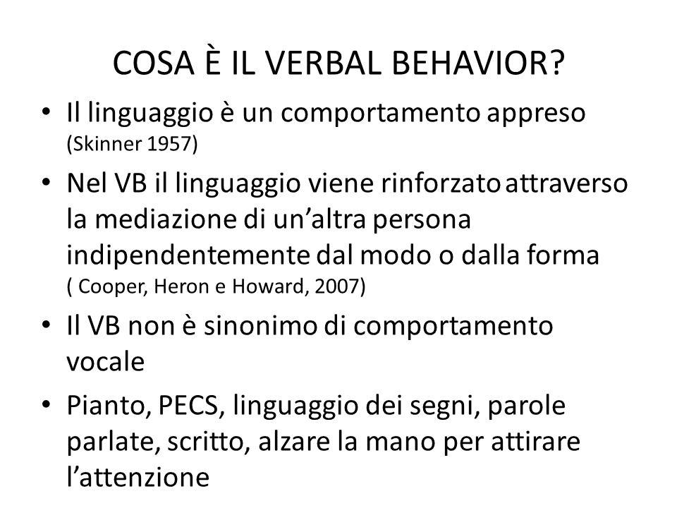 COSA È IL VERBAL BEHAVIOR? Il linguaggio è un comportamento appreso (Skinner 1957) Nel VB il linguaggio viene rinforzato attraverso la mediazione di u
