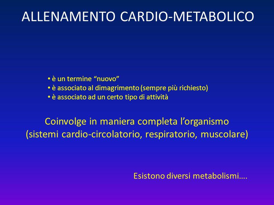 """ALLENAMENTO CARDIO-METABOLICO Coinvolge in maniera completa l'organismo (sistemi cardio-circolatorio, respiratorio, muscolare) è un termine """"nuovo"""" è"""
