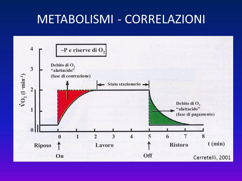 METABOLISMI - CORRELAZIONI Cerretelli, 2001