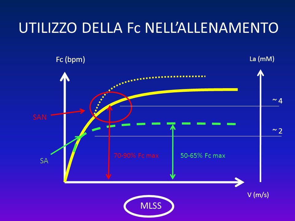 UTILIZZO DELLA Fc NELL'ALLENAMENTO Fc (bpm) V (m/s) SA SAN La (mM) ~ 2 ~ 4 50-65% Fc max70-90% Fc max MLSS