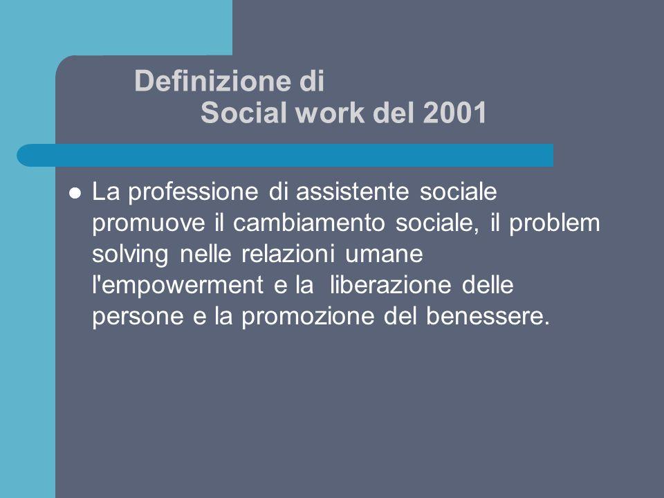 Definizione di Social work del 2001 Utilizzando le teorie del comportamentoumano e dei sistemi sociali, i servizio sociale interviene nel punto i cui le persone interagiscono con il loro ambiente.