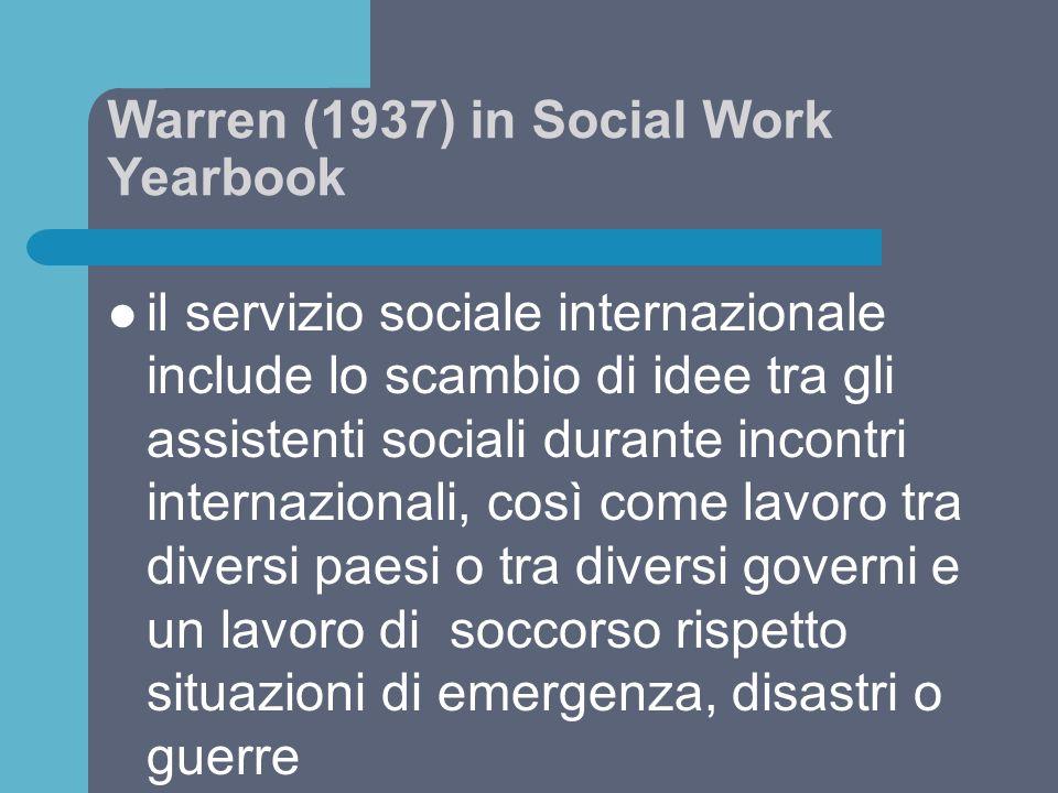 Warren (1937) in Social Work Yearbook il servizio sociale internazionale include lo scambio di idee tra gli assistenti sociali durante incontri intern