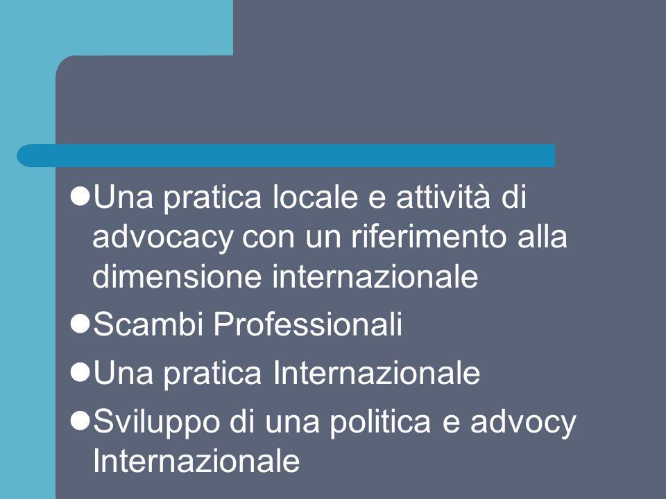 Una pratica locale e attività di advocacy con un riferimento alla dimensione internazionale Scambi Professionali Una pratica Internazionale Sviluppo d