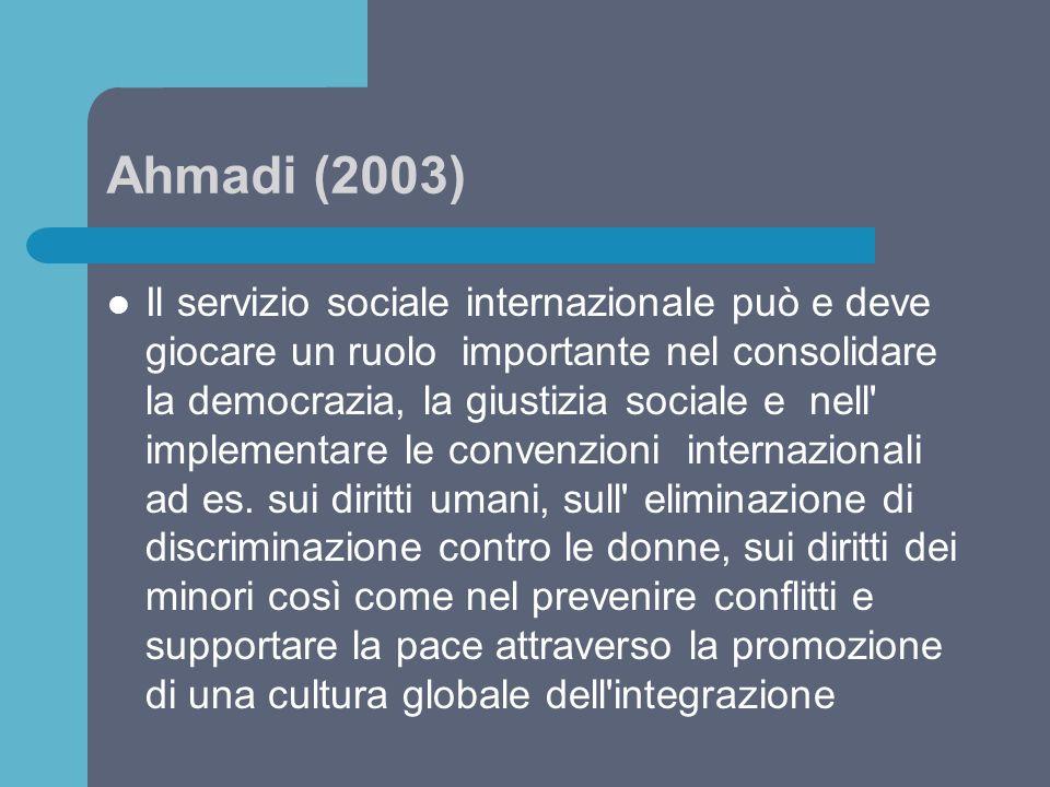 Ahmadi (2003) Il servizio sociale internazionale può e deve giocare un ruolo importante nel consolidare la democrazia, la giustizia sociale e nell' im