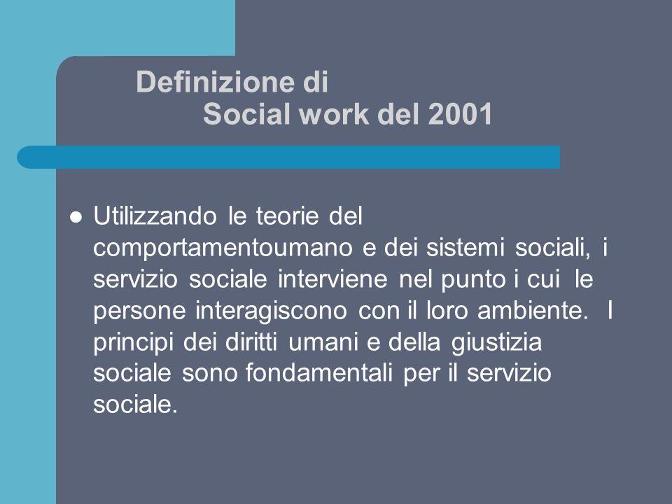 Definizione di Social work del 2001 Utilizzando le teorie del comportamentoumano e dei sistemi sociali, i servizio sociale interviene nel punto i cui