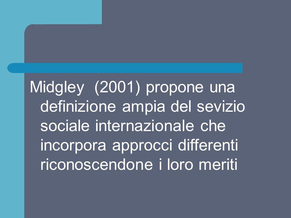 Midgley (2001) propone una definizione ampia del sevizio sociale internazionale che incorpora approcci differenti riconoscendone i loro meriti