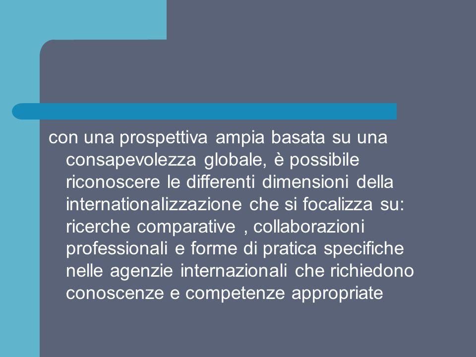 con una prospettiva ampia basata su una consapevolezza globale, è possibile riconoscere le differenti dimensioni della internationalizzazione che si f