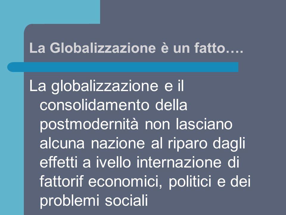 La Globalizzazione è un fatto…. La globalizzazione e il consolidamento della postmodernità non lasciano alcuna nazione al riparo dagli effetti a ivell