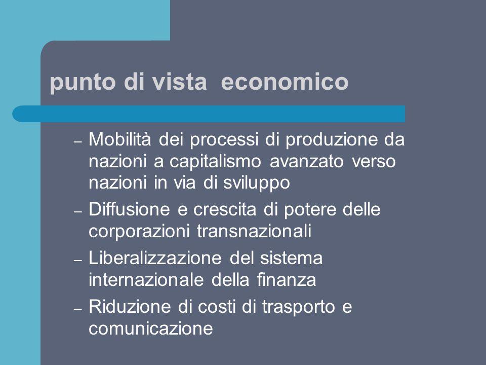 punto di vista economico – Mobilità dei processi di produzione da nazioni a capitalismo avanzato verso nazioni in via di sviluppo – Diffusione e cresc