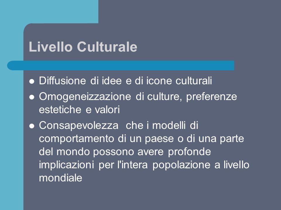 Livello Culturale Diffusione di idee e di icone culturali Omogeneizzazione di culture, preferenze estetiche e valori Consapevolezza che i modelli di c