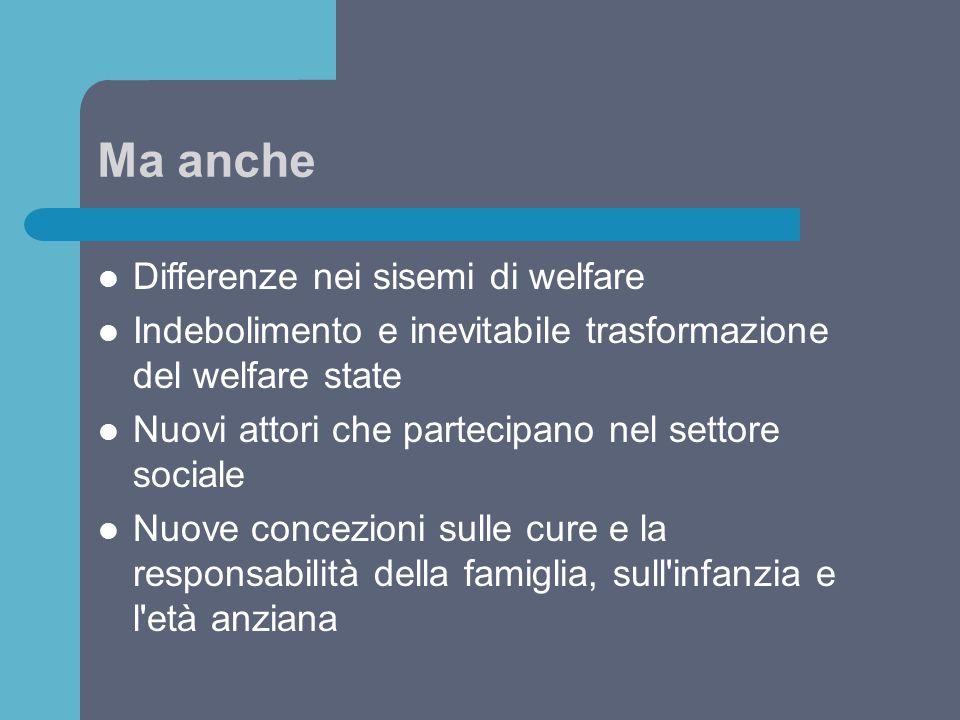 Ma anche Differenze nei sisemi di welfare Indebolimento e inevitabile trasformazione del welfare state Nuovi attori che partecipano nel settore social