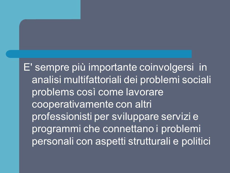 E' sempre più importante coinvolgersi in analisi multifattoriali dei problemi sociali problems così come lavorare cooperativamente con altri professio