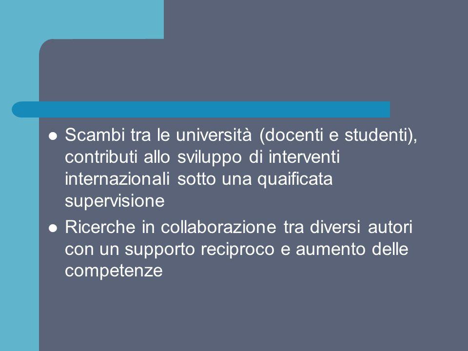 Scambi tra le università (docenti e studenti), contributi allo sviluppo di interventi internazionali sotto una quaificata supervisione Ricerche in col