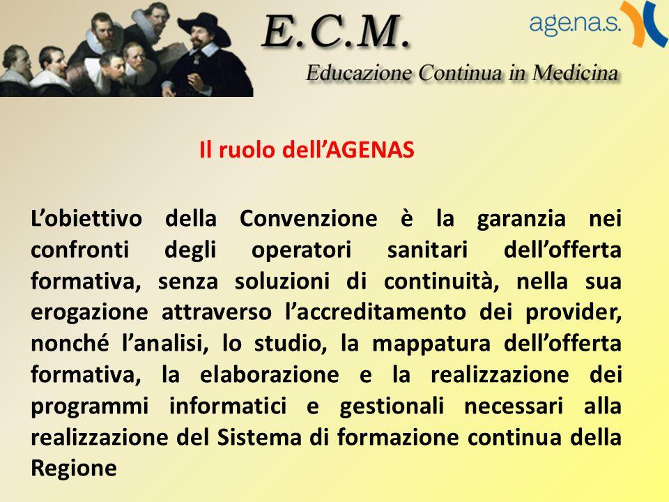 Il ruolo dell'AGENAS L'obiettivo della Convenzione è la garanzia nei confronti degli operatori sanitari dell'offerta formativa, senza soluzioni di con