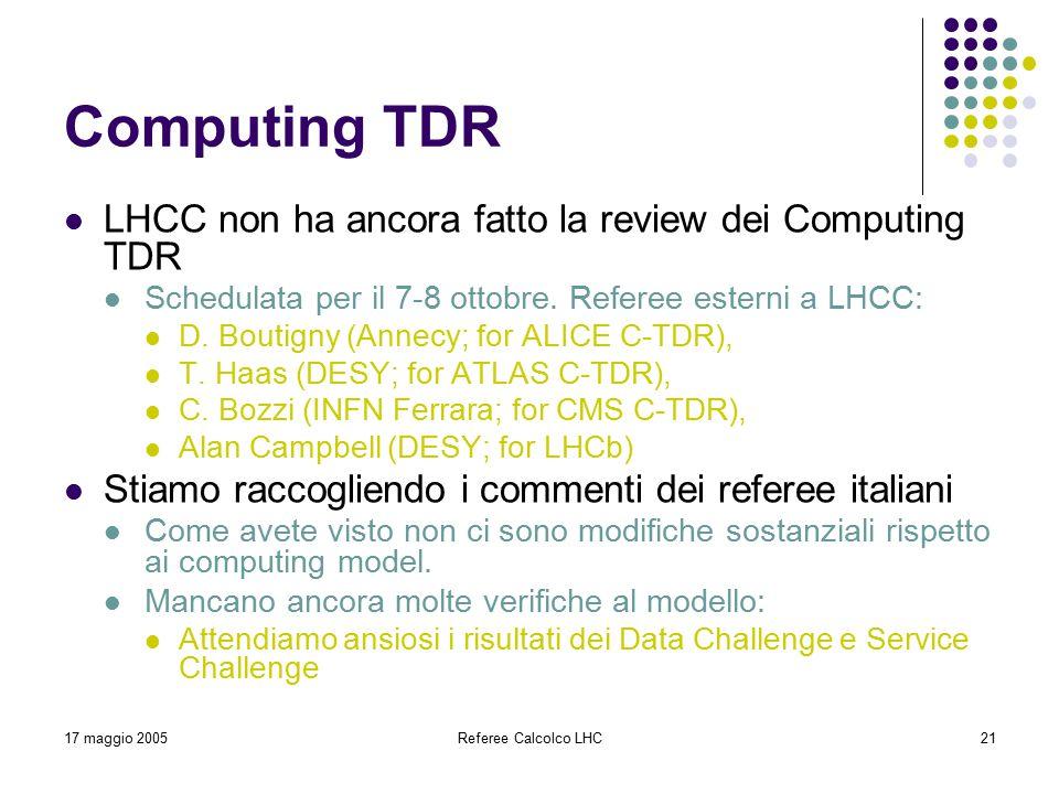 17 maggio 2005Referee Calcolco LHC21 Computing TDR LHCC non ha ancora fatto la review dei Computing TDR Schedulata per il 7-8 ottobre. Referee esterni