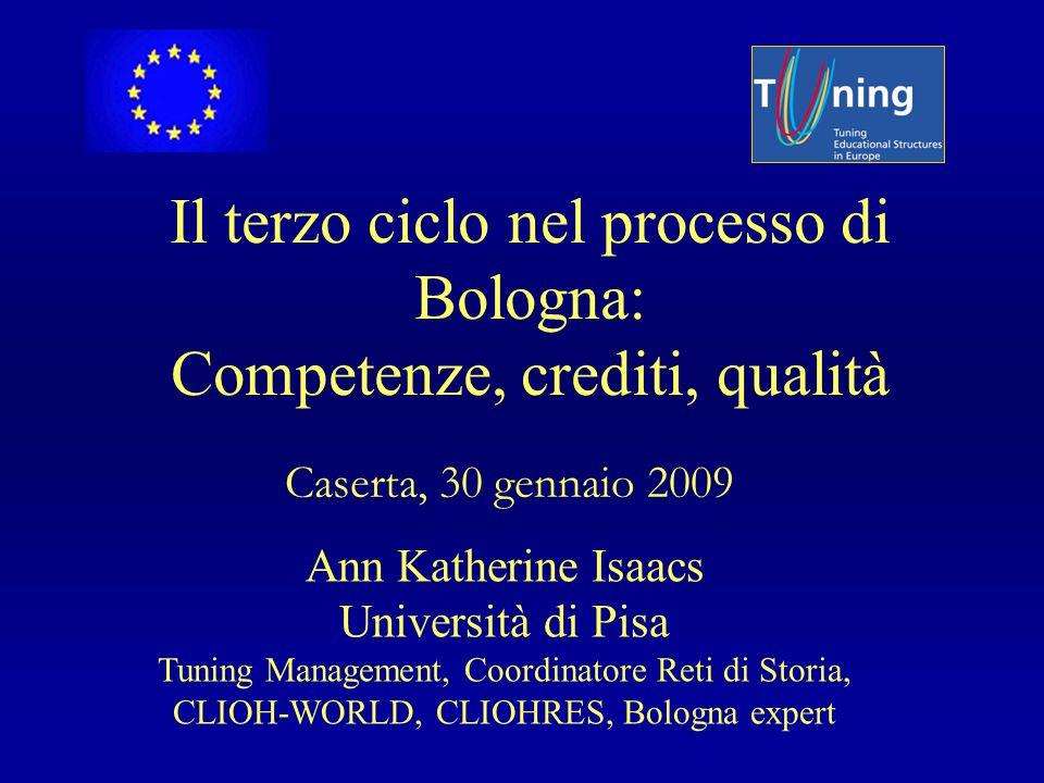Il terzo ciclo nel processo di Bologna: Competenze, crediti, qualità Caserta, 30 gennaio 2009 Ann Katherine Isaacs Università di Pisa Tuning Managemen