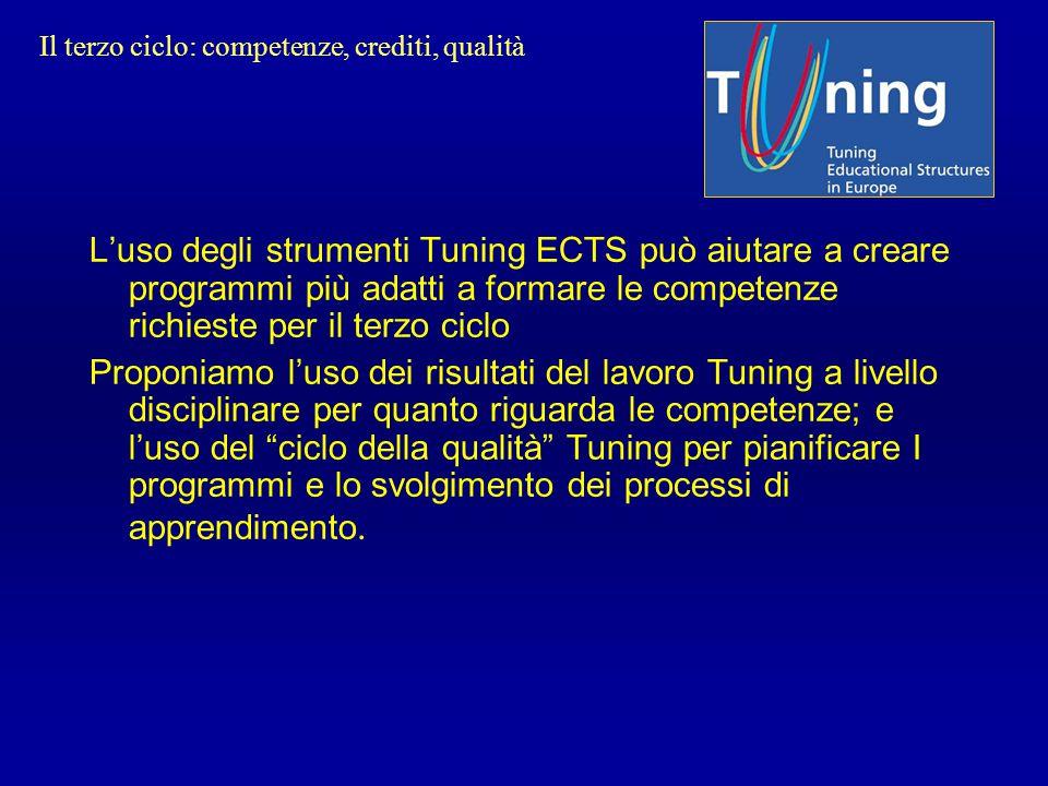 L'uso degli strumenti Tuning ECTS può aiutare a creare programmi più adatti a formare le competenze richieste per il terzo ciclo Proponiamo l'uso dei