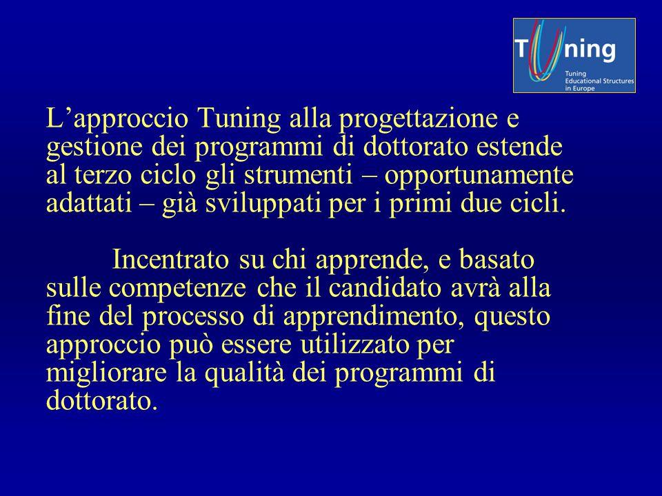 L'approccio Tuning alla progettazione e gestione dei programmi di dottorato estende al terzo ciclo gli strumenti – opportunamente adattati – già svilu