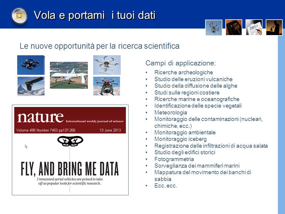 Droni ricercatori In Italia molti programmi di ricerca utilizzano droni nell'ambito della regolamentazione ENAC IBIMET- CNR: sistema integrato di telerilevamento in agricoltura CRA-CMA: Sperimentazione di microdroni per la ricognizione territoriale ed ambientale IRPI-CNR: usa droni per studi monitoraggio territorio.