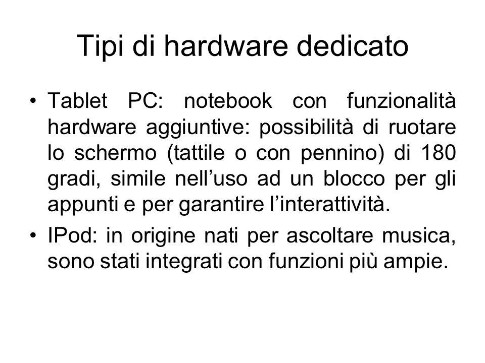 Tipi di hardware dedicato Tablet PC: notebook con funzionalità hardware aggiuntive: possibilità di ruotare lo schermo (tattile o con pennino) di 180 gradi, simile nell'uso ad un blocco per gli appunti e per garantire l'interattività.