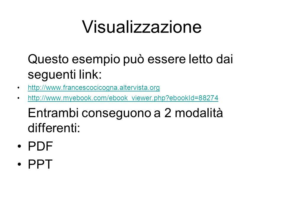 Visualizzazione Questo esempio può essere letto dai seguenti link: http://www.francescocicogna.altervista.org http://www.myebook.com/ebook_viewer.php ebookId=88274 Entrambi conseguono a 2 modalità differenti: PDF PPT