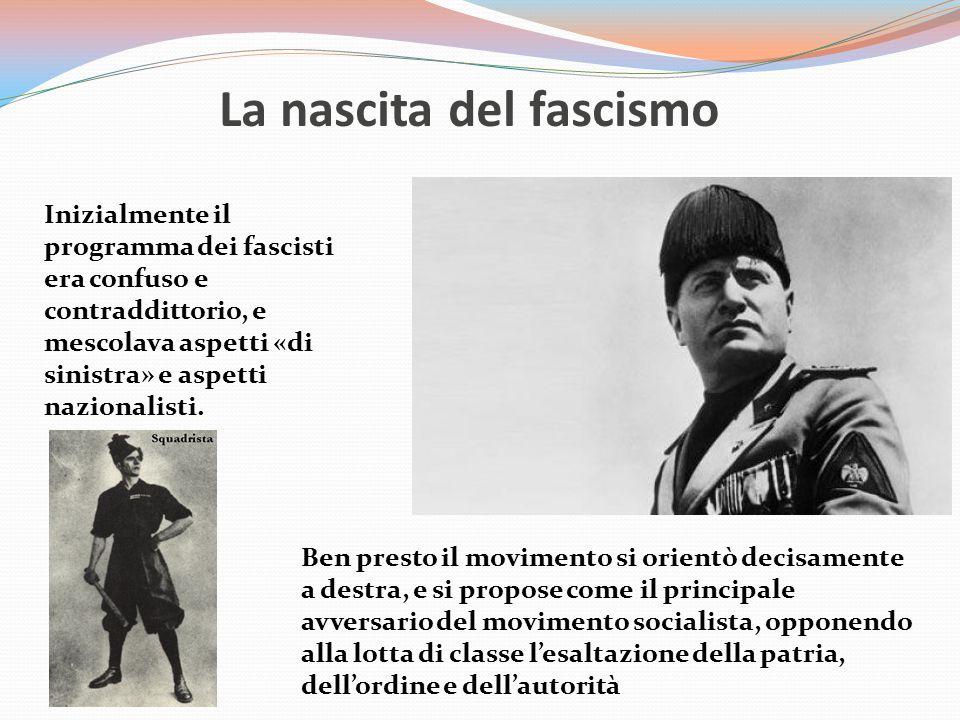 La nascita del fascismo Inizialmente il programma dei fascisti era confuso e contraddittorio, e mescolava aspetti «di sinistra» e aspetti nazionalisti