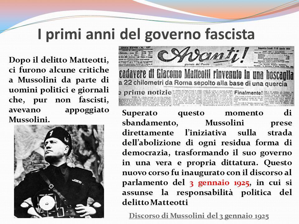I primi anni del governo fascista Discorso di Mussolini del 3 gennaio 1925 Dopo il delitto Matteotti, ci furono alcune critiche a Mussolini da parte d
