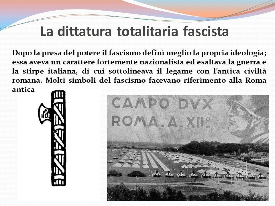 La dittatura totalitaria fascista Dopo la presa del potere il fascismo definì meglio la propria ideologia; essa aveva un carattere fortemente nazional