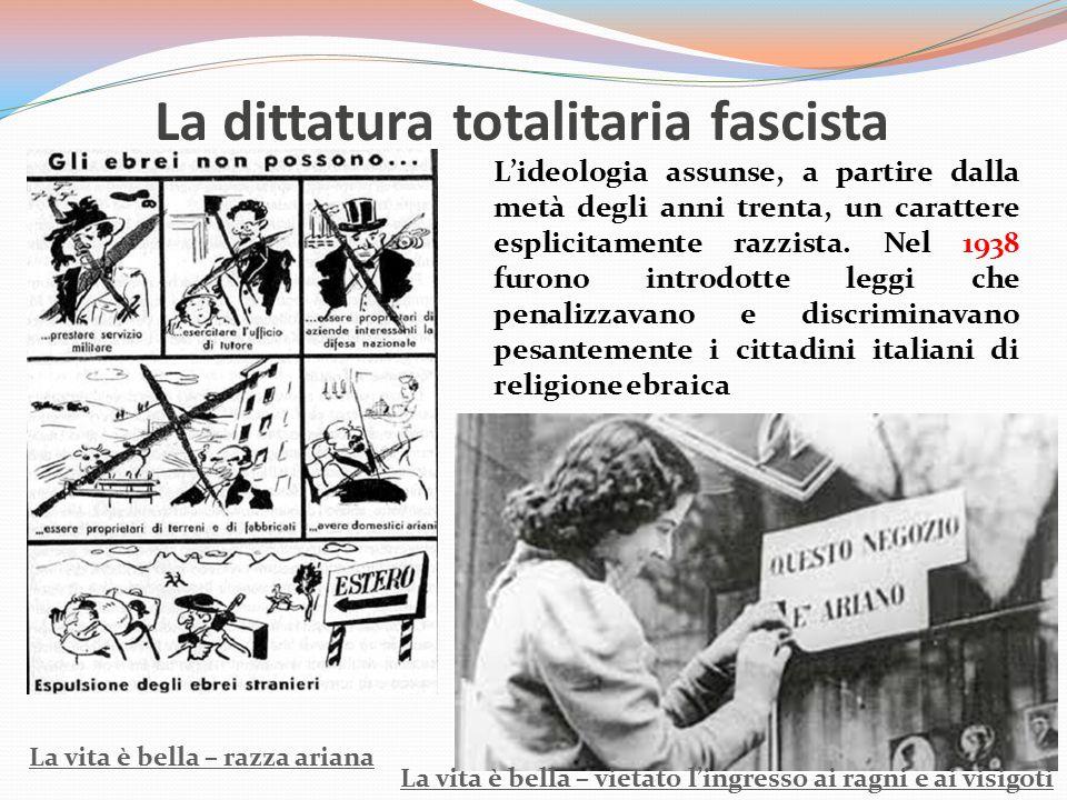 La dittatura totalitaria fascista L'ideologia assunse, a partire dalla metà degli anni trenta, un carattere esplicitamente razzista. Nel 1938 furono i