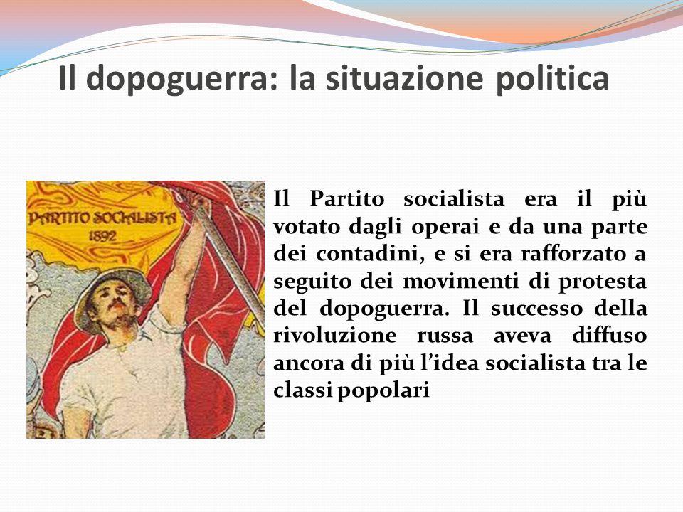 Il dopoguerra: la situazione politica Il Partito socialista era il più votato dagli operai e da una parte dei contadini, e si era rafforzato a seguito