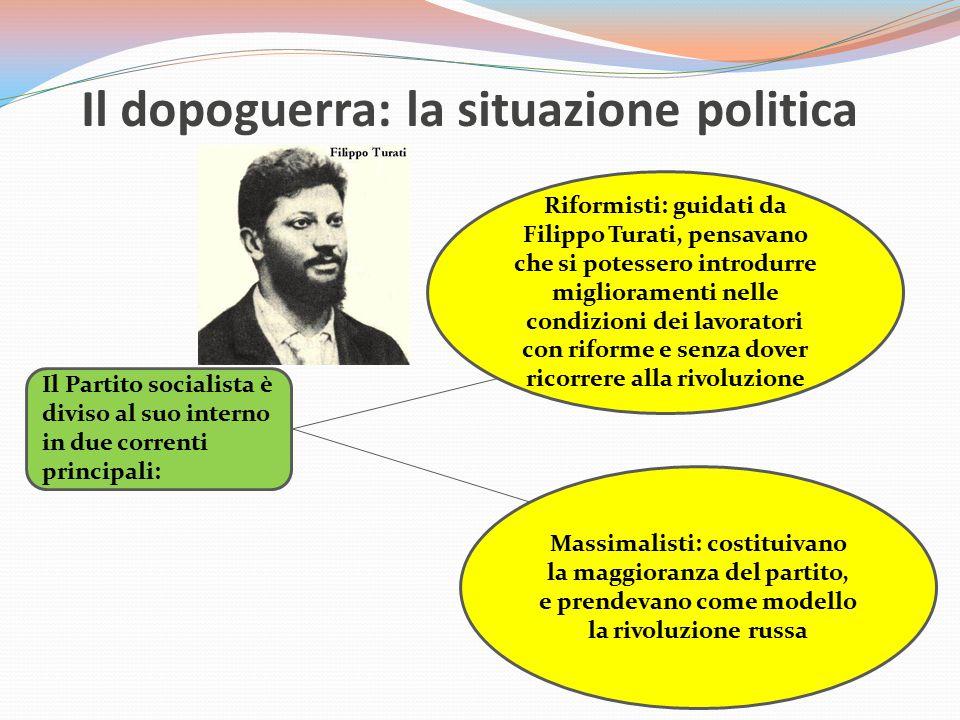 Il dopoguerra: la situazione politica Il Partito socialista è diviso al suo interno in due correnti principali: Riformisti: guidati da Filippo Turati,