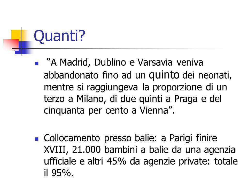 """Quanti? """"A Madrid, Dublino e Varsavia veniva abbandonato fino ad un quinto dei neonati, mentre si raggiungeva la proporzione di un terzo a Milano, di"""