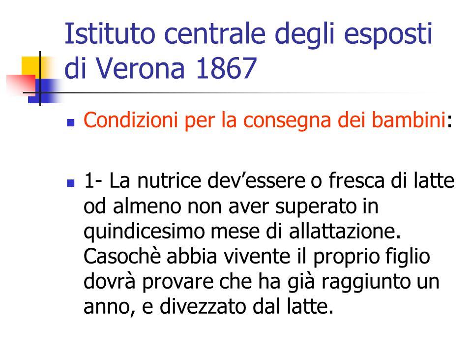 Istituto centrale degli esposti di Verona 1867 Condizioni per la consegna dei bambini: 1- La nutrice dev'essere o fresca di latte od almeno non aver s