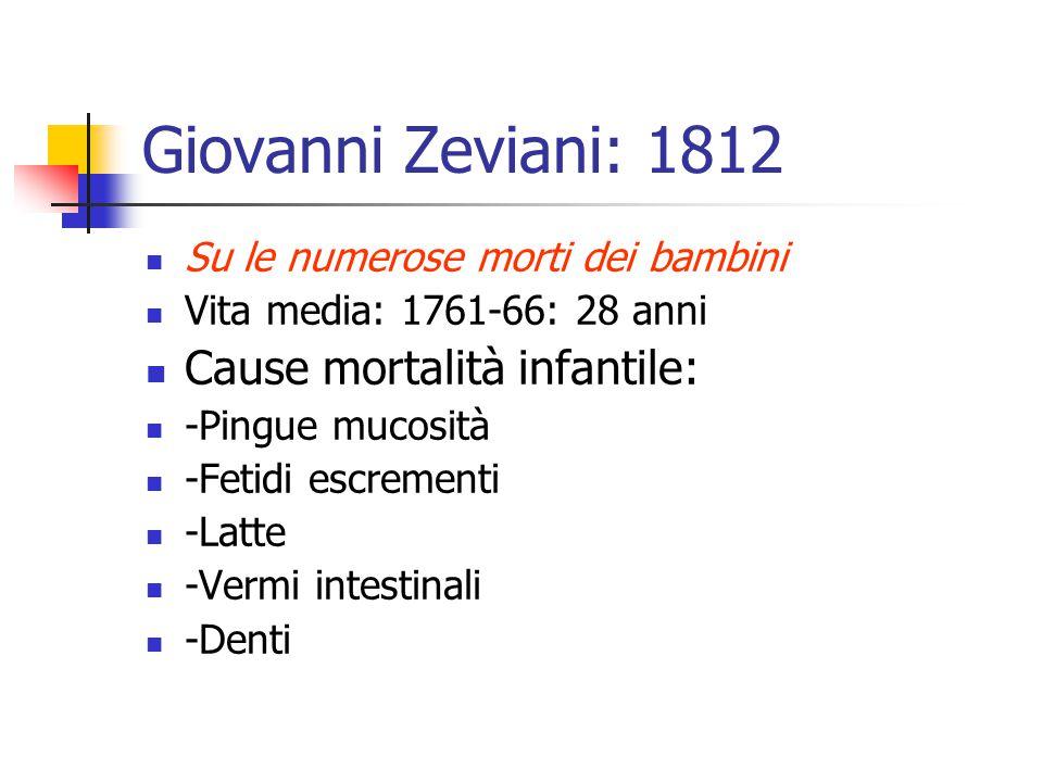 Giovanni Zeviani: 1812 Su le numerose morti dei bambini Vita media: 1761-66: 28 anni Cause mortalità infantile: -Pingue mucosità -Fetidi escrementi -L