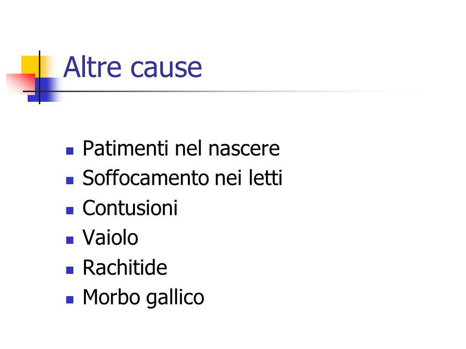 Altre cause Patimenti nel nascere Soffocamento nei letti Contusioni Vaiolo Rachitide Morbo gallico