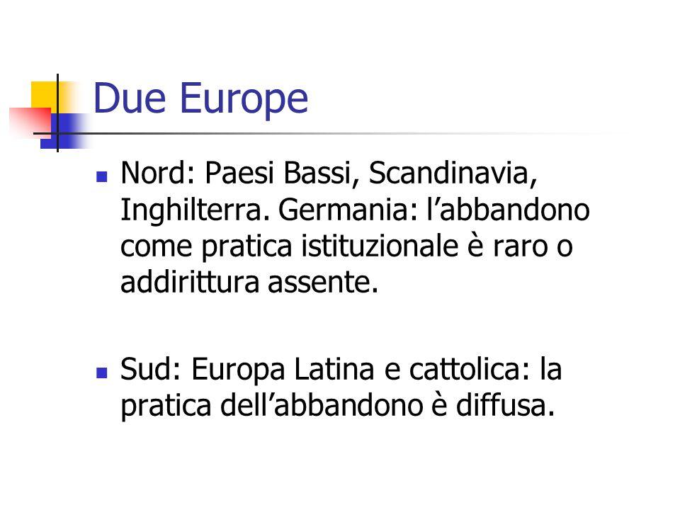 Due Europe Nord: Paesi Bassi, Scandinavia, Inghilterra. Germania: l'abbandono come pratica istituzionale è raro o addirittura assente. Sud: Europa Lat